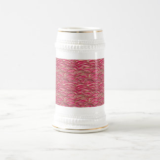 Pink abstract waves pattern. Sea texture. Beer Stein