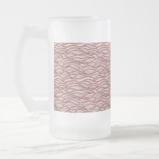 Pink abstract waves pattern. Sea texture. Frosted Glass Beer Mug