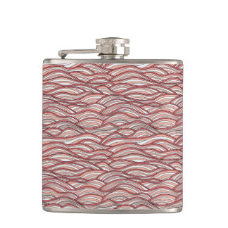 Pink abstract waves pattern. Sea texture. Hip Flask