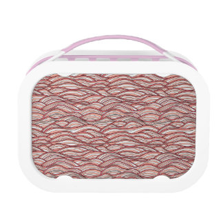 Pink abstract waves pattern. Sea texture. Lunch Box
