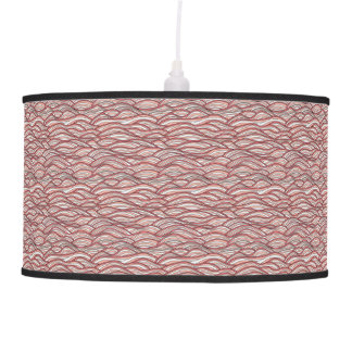 Pink abstract waves pattern. Sea texture. Pendant Lamp