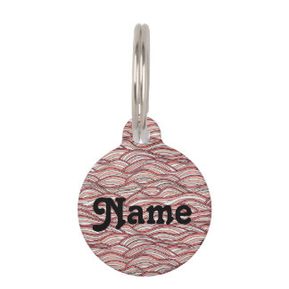 Pink abstract waves pattern. Sea texture. Pet Name Tag