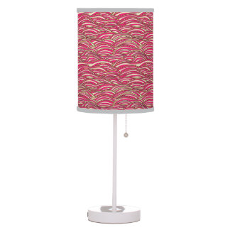 Pink abstract waves pattern. Sea texture. Table Lamp