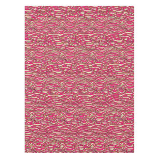 Pink abstract waves pattern. Sea texture. Tablecloth