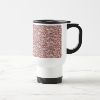 Pink abstract waves pattern. Sea texture. Travel Mug