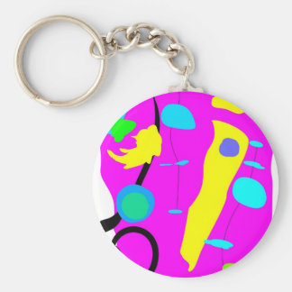 Pink abstraction basic round button keychain
