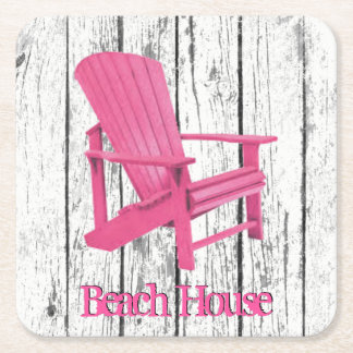 Pink Adirondack Chair Your Text Square Paper Coaster