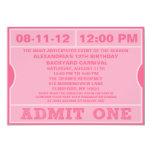 Pink Admit One Ticket Invitation Birthday Party
