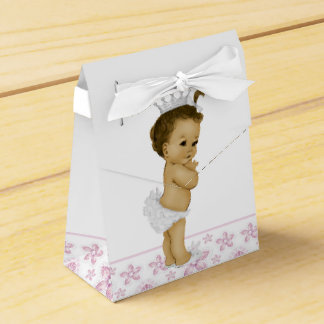 Pink African American Baby Girl Shower Favor Boxes