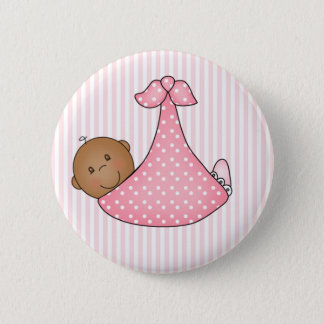 Pink African American Girl in Blanket 2 Inch Round Button