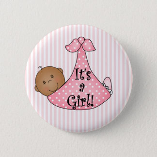 Pink African American It's a Girl 2 Inch Round Button