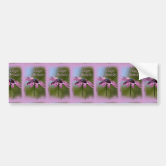 Pink African Daisy Happy Birthday Bumper Sticker