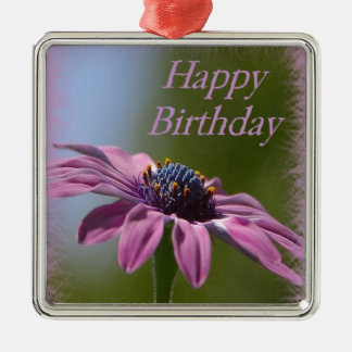 Pink African Daisy Happy Birthday Metal Ornament
