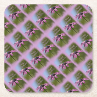 Pink African Daisy Happy Birthday Square Paper Coaster