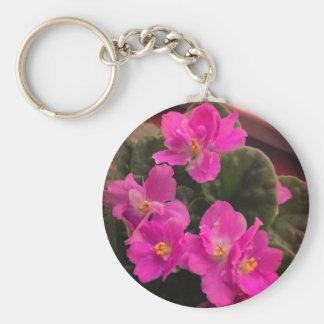 Pink African Violets Keychain