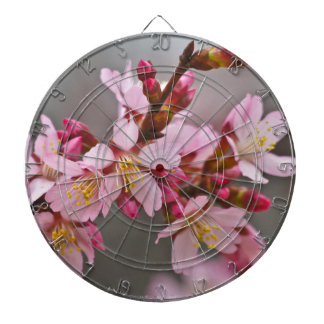 Pink Against A Gray Sky Japanese Cherry Blossoms Dartboard