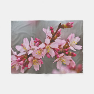 Pink Against A Gray Sky Japanese Cherry Blossoms Fleece Blanket