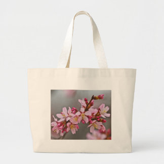Pink Against A Gray Sky Japanese Cherry Blossoms Large Tote Bag
