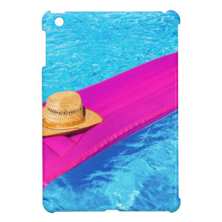 Pink air mattrass with hat in swimming pool iPad mini cover