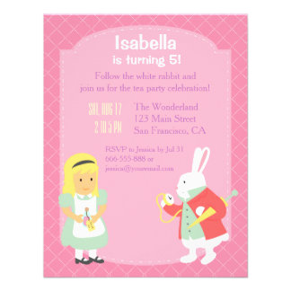 Pink Alice in Wonderland Birthday Tea Party Personalized Invitations