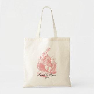Pink Alice in Wonderland Wedding Tote Bags
