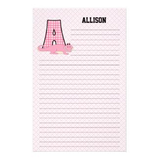 Pink Alligator   Monogram A   Custom Lined Kid's Custom Stationery