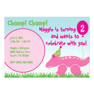 Pink Alligator Toddler Birthday Invitation 5 x 7