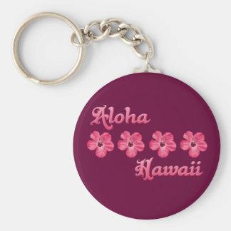 Pink Aloha Hawaii Basic Round Button Keychain