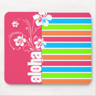 Pink Aloha; Retro Neon Rainbow Mouse Pad