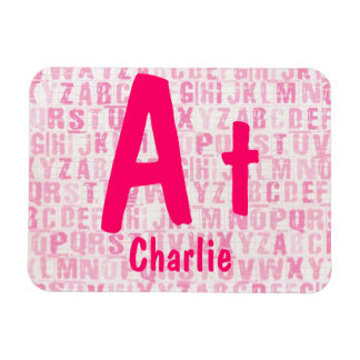 Pink Alphabet Homework Magnet Personalized