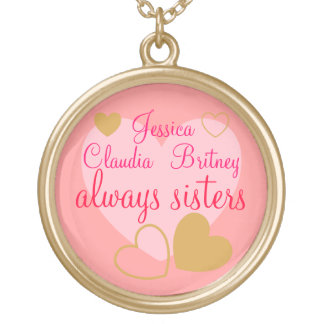 Pink Always Sisters Personalized Names Necklace