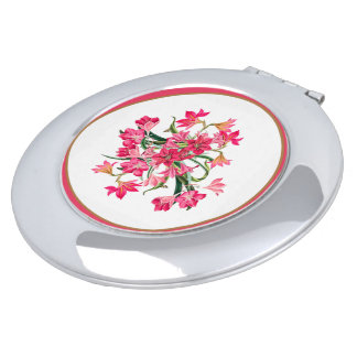 Pink Amarylis Flowers Floral Compact Mirror