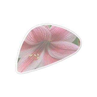 Pink Amaryllis White Delrin Guitar Pick