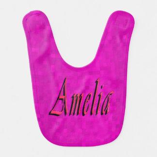 Pink Amelia Girls Name Logo Bib