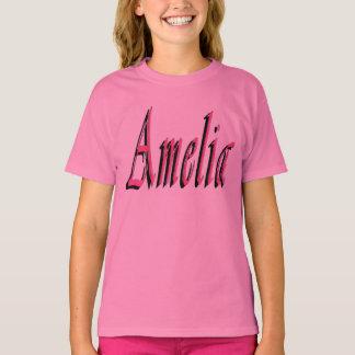 Pink Amelia Girls Name Logo T-Shirt