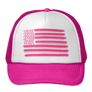 Pink American flag stars stripes ladies hat