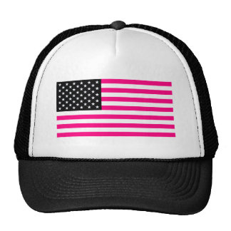 pink american flag trucker hat