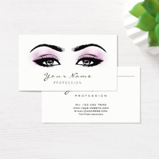 Pink Amethyst Makeup Artist Lashes Lux Black White Business Card