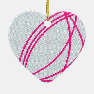 pink an grey abstract art ceramic heart ornament
