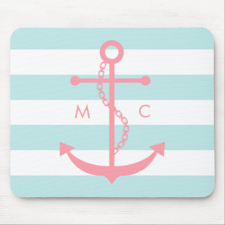 Pink Anchor and Monogram on Mint Stripes Mouse Pad