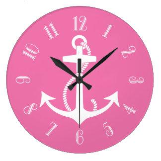 Pink Anchor Large Clock