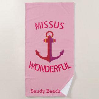 Pink Anchor Missus Wonderful Nautical Theme Beach Towel