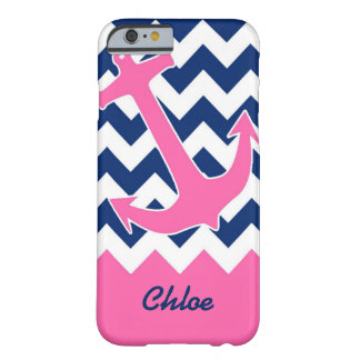 Pink Anchor & Navy Chevron Barely There iPhone 6 Case
