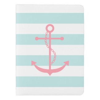 Pink Anchor on Mint Stripes Extra Large Moleskine Notebook