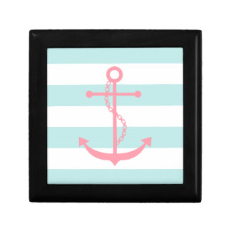 Pink Anchor on Mint Stripes Trinket Box