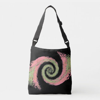Pink and a Green Abstract Swirl Reversible Crossbody Bag