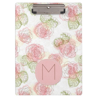 Pink and Apricot Sketchy Floral Pattern Clipboard