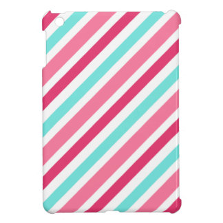 Pink and aqua blue candy stripes chic trendy girly iPad mini cover