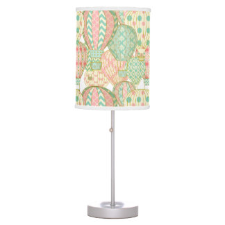 Pink and Aqua Blue Hot Air Balloons Pattern Table Lamp