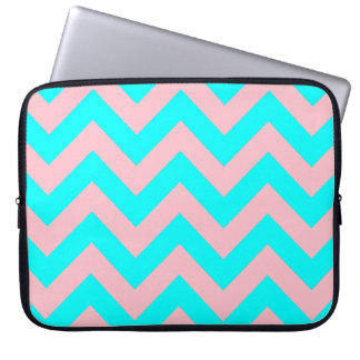 Pink and Aqua Chevron Laptop Sleeve
